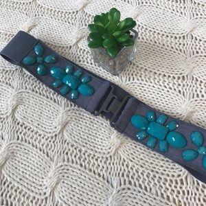 Accessories - Turquoise Elastic Belt Teal Gems Hook